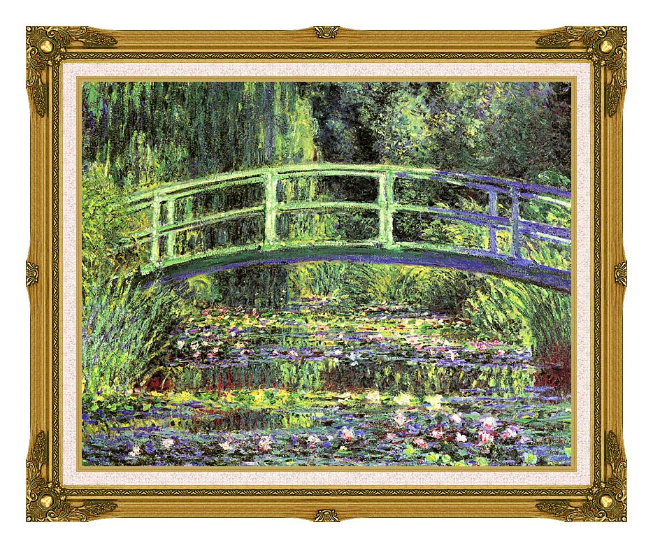 Claude Monet Water Lilies and Japanese Bridge with Museum Ornate Frame w/Liner