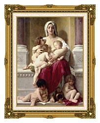 William Bouguereau Charity canvas with museum ornate gold frame