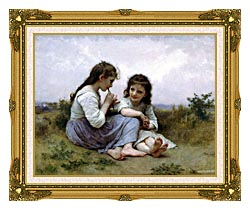 William Bouguereau Childhood Idyll canvas with museum ornate gold frame