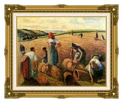 Camille Pissarro The Gleaners canvas with museum ornate gold frame