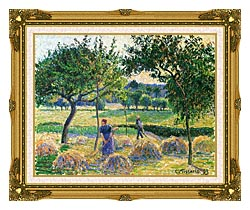Camille Pissarro Bountiful Harvest canvas with museum ornate gold frame