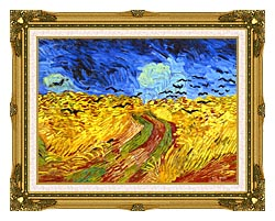 Vincent Van Gogh Wheat Field With Crows Detail canvas with museum ornate gold frame