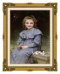 William Bouguereau Daisies canvas with museum ornate gold frame