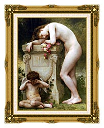 William Bouguereau Elegy canvas with museum ornate gold frame
