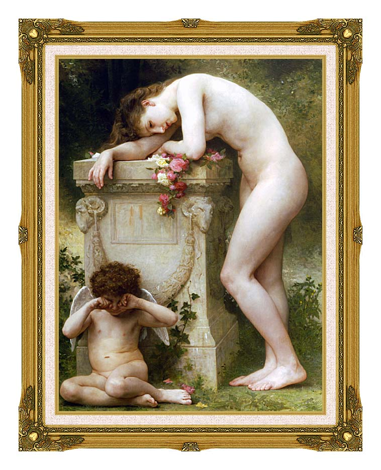 William Bouguereau Elegy with Museum Ornate Frame w/Liner