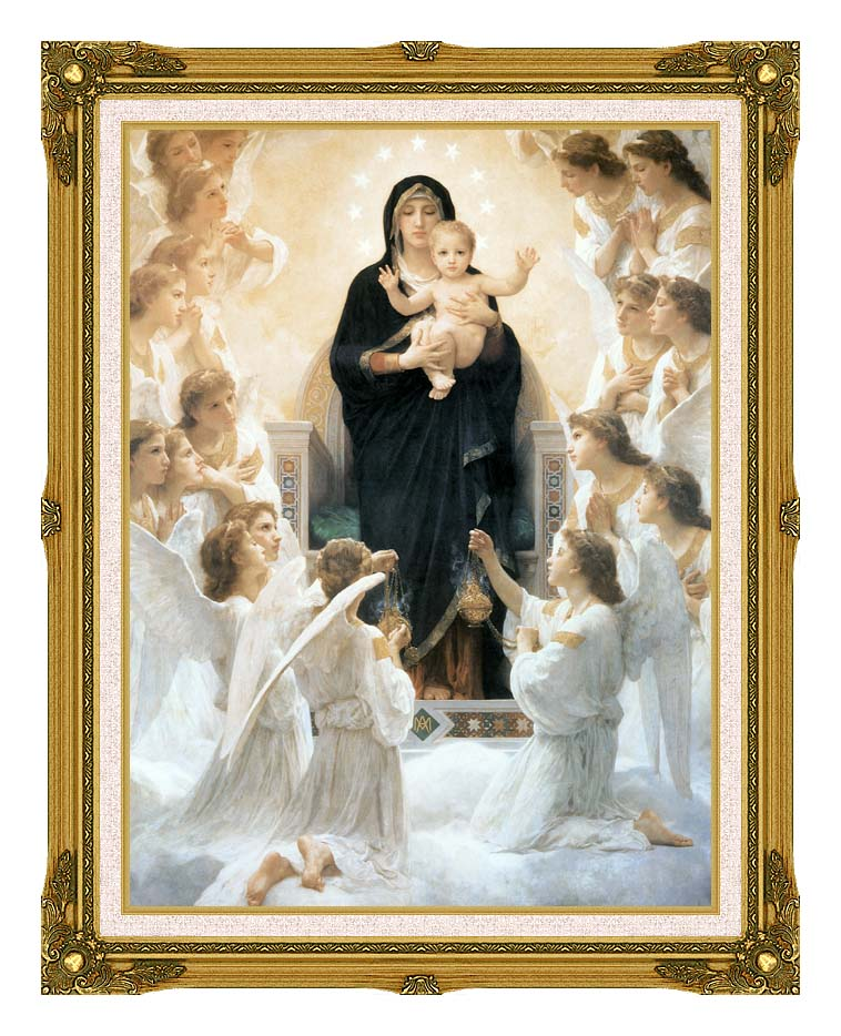 William Bouguereau The Virgin with Angels with Museum Ornate Frame w/Liner