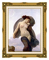 William Bouguereau Evening Mood canvas with museum ornate gold frame
