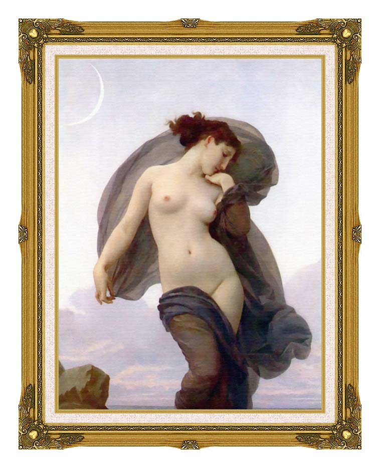 William Bouguereau Evening Mood with Museum Ornate Frame w/Liner