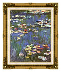 Claude Monet Water Lilies 1916 Portrait Detail canvas with museum ornate gold frame