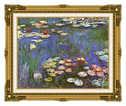 Claude Monet Water Lilies 1916 Detail canvas with museum ornate gold frame