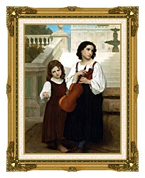 William Bouguereau Far From Home canvas with museum ornate gold frame