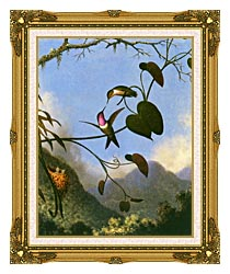 Martin Johnson Heade Amethyst Woodstar canvas with museum ornate gold frame