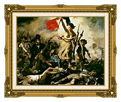 Eugene Delacroix Liberty Leading The People canvas with museum ornate gold frame