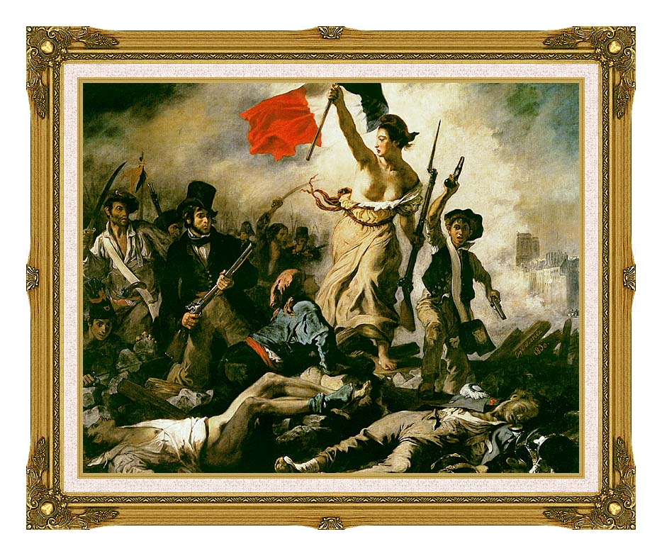 Eugene Delacroix Liberty Leading the People with Museum Ornate Frame w/Liner
