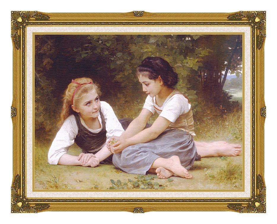 William Bouguereau Hazelnuts - The Nut Gatherers with Museum Ornate Frame w/Liner
