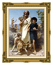 William Bouguereau Homer And His Guide canvas with museum ornate gold frame