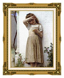 William Bouguereau In Penitence canvas with museum ornate gold frame