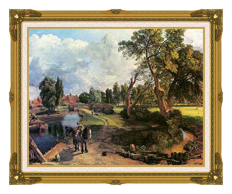 John Constable Flatford Mill, on the River Stour with Museum Ornate Frame w/Liner