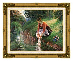 Camille Pissarro Woman Bathing Her Feet canvas with museum ornate gold frame