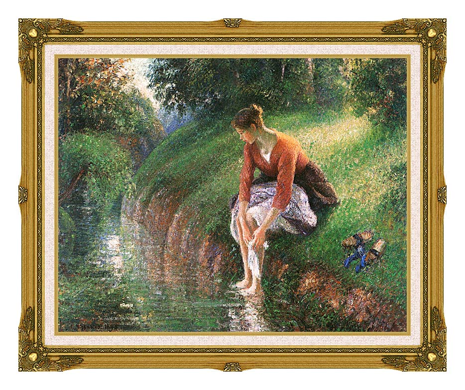 Camille Pissarro Woman Bathing Her Feet with Museum Ornate Frame w/Liner