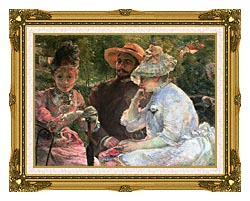 Marie Bracquemond On The Terrace At Sevres canvas with museum ornate gold frame