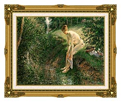 Camille Pissarro Bather In The Woods canvas with museum ornate gold frame