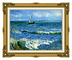 Vincent Van Gogh The Sea At Les Saintes Maries De La Mer canvas with museum ornate gold frame
