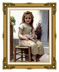 William Bouguereau Just A Taste canvas with museum ornate gold frame