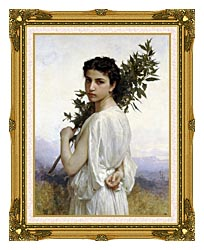 William Bouguereau Laurel Branch canvas with museum ornate gold frame