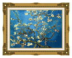 Vincent Van Gogh Almond Blossom Detail canvas with museum ornate gold frame