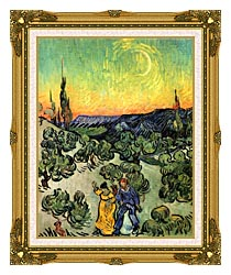 Vincent Van Gogh Landscape With Couple Walking And Crescent Moon canvas with museum ornate gold frame