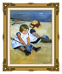 Mary Cassatt Children Playing On The Beach Detail canvas with museum ornate gold frame