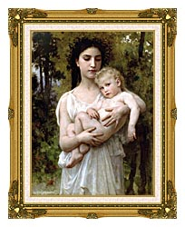 William Bouguereau Little Brother canvas with museum ornate gold frame