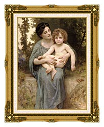 William Bouguereau Young Woman And Little Brother canvas with museum ornate gold frame