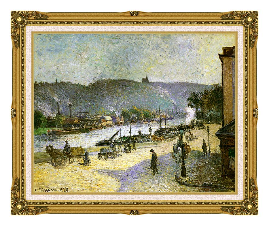 Camille Pissarro The Quays at Rouen with Museum Ornate Frame w/Liner