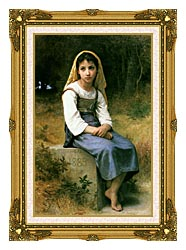 William Bouguereau Meditation canvas with museum ornate gold frame