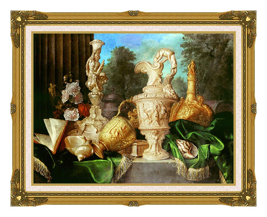 Meiffren Conte Still Life with Precious Vessels with Museum Ornate Frame w/Liner