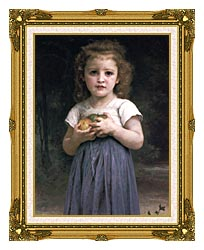 William Bouguereau Little Girl Holding Apples canvas with museum ornate gold frame