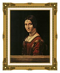 Leonardo Da Vinci Lady In The Court Of Milan canvas with museum ornate gold frame