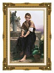 William Bouguereau The Broken Pitcher canvas with museum ornate gold frame