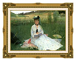 Berthe Morisot Reading Detail canvas with museum ornate gold frame
