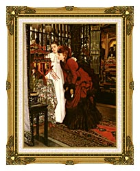 James Tissot Young Ladies Looking At Japanese Objects canvas with museum ornate gold frame