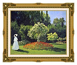 Claude Monet Jeanne Marguerite Lecadre In The Garden canvas with museum ornate gold frame