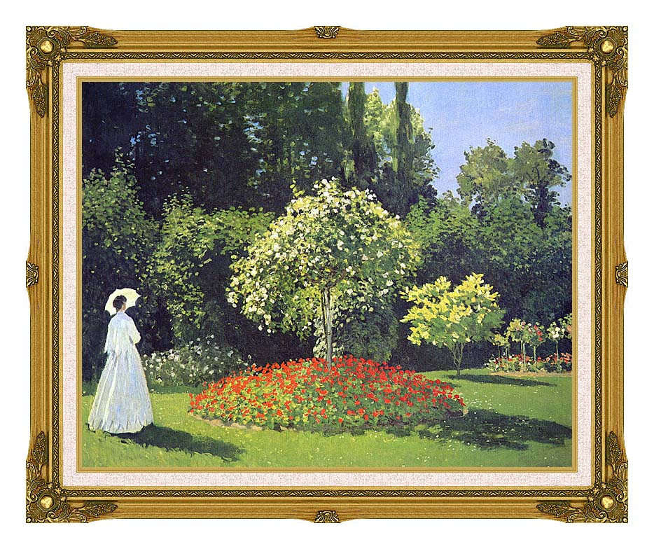 Claude Monet Jeanne-Marguerite Lecadre in the Garden with Museum Ornate Frame w/Liner
