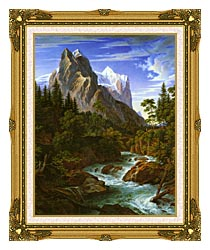 Joseph Anton Koch The Wetterhorn With The Reichenbachtal canvas with museum ornate gold frame