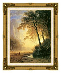 Albert Bierstadt Hetch Hetchy Canyon canvas with museum ornate gold frame