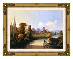 John Mix Stanley Chain Of Spires Along The Gila River canvas with museum ornate gold frame