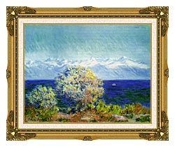 Claude Monet At Cap Dantibes Mistral Wind canvas with museum ornate gold frame