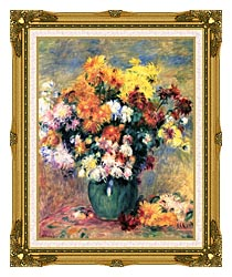 Pierre Auguste Renoir Chrysanthemums In A Vase canvas with museum ornate gold frame