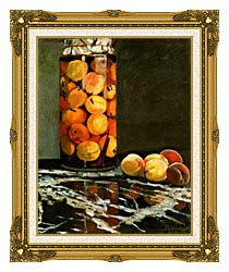 Claude Monet Jar Of Peaches canvas with museum ornate gold frame